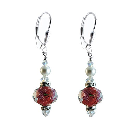 Red Lamp-work Glass Earrings Made with Swarovski Crystal Elements. Sterling Silver (Lampwork Crystal Sterling Earrings)