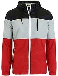 Men's Lightweight Full-Zip Hooded Windbreaker Jacket Rain Jacket Water Resistant Shell
