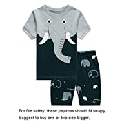 Barara King Baby Boys Elephant Snug-Fit Pajamas 100% Cotton Grey Pjs Clothes Infant Kid 12-18 Months