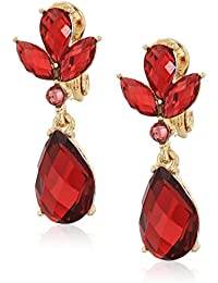 Gold-Tone Siam Drop Red Clip-On Earrings