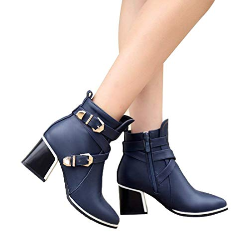 Fashion Women's Buckle Pointed-Toe Bootie Casual Zipper Chunky Heel Ankle Boots(Blue 6.5 B(M) US)