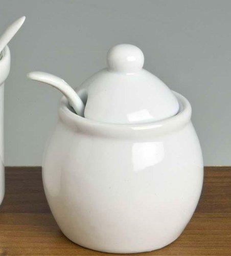 Marmeladendose bauchig Porzellan weiß - Zuckerdose - Senftopf