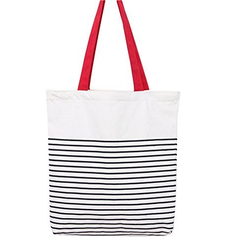 Women's Black Stripe Print Canvas Tote Bag Shoulderbag White (red-zip) by caixia