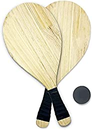 Beach Racket Set Suitable for Park、 Beach and Outdoors Premium Pine Rackets Set of 2 、 2 Free Rubber Balls &am
