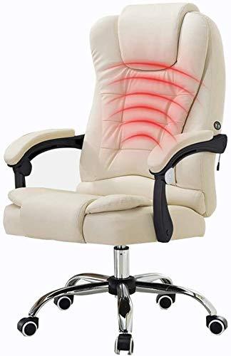 GSN Silla giratoria de oficina Silla con respaldo alto 72 cm grande asiento y funcion de inclinacion masaje de la cintura ergonomica del Ministerio del Interior de la PU de la carga de peso 150kg sill