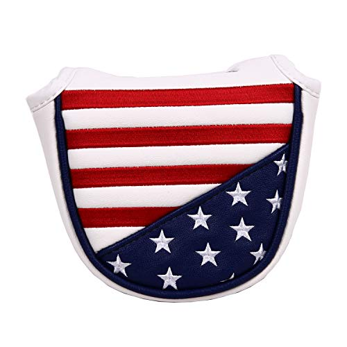 (USA Stars and Stripes Magnetic Closure Golf Mallet Putter Head Cover for Odyssey Scotty Cameron Golf Builder )