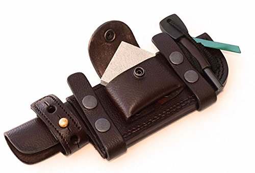 CFK Cutlery Company USA Handcrafted LEFT HAND SCOUT / RIGHT HAND CROSS DRAW Custom BROWN Leather Tactical Hunter Tracker Horizontal Knife Sheath with …