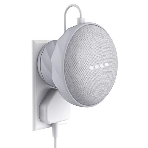 KIWI design Outlet Wall Mount Rubber Holder Compatible with Home Mini by Google, A Space-Saving Accessories Case for Home Mini Speaker (1 Pack, Gray) Google Home Mini is Not Included
