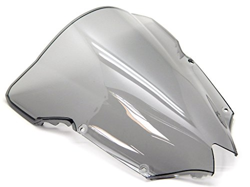 9sparts Black | Clear | Smoke Double Bubble ABS Plastic Injection Windscreen Windshield For 2008 2009 2010 2011 2012 2013 2014 2015 2016 Yamaha YZF R6 (Smoke) ()