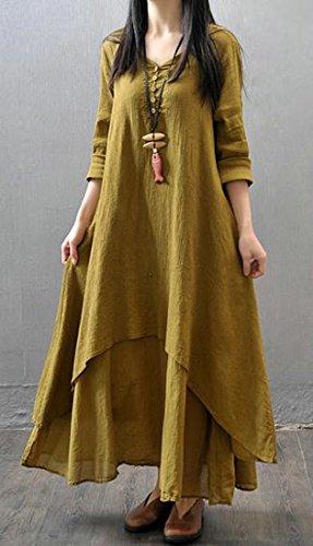 A Puro Colore Lunga Orlo Delle Di Cromoncent Allentato Lino Strati Lungo Vestito Comodità Manica Donne Giallo x7Uwq18
