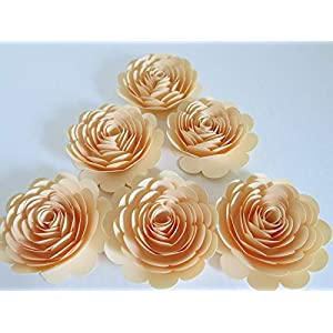 """Ivory Paper Roses, 3"""" Paper Flowers, Set of 6 Wedding Flowers, Bridal Shower Decor, Victorian Theme Tea Party Decorations, Baby Nursery Wall Art 30"""