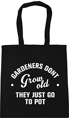 HippoWarehouse Gardeners don't grow old they just go to pot Tote Shopping Gym Beach Bag 42cm x38cm, 10 litres Black