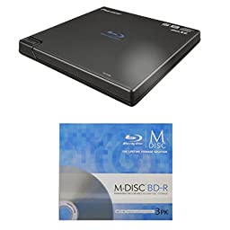 Pioneer 6x BDR-XD05B Portable USB 3.0 Blu-ray Burner Bundle with 3 Pack M-DISC BD - Supports BDXL, BD, DVD, and CD Media (Black, Retail Box)