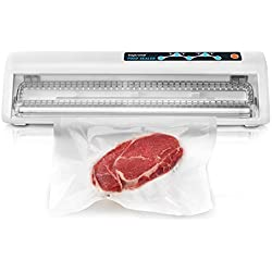 Toprime Food Vacuum Sealer, Automatic Vacuum Sealing System for Keeping Dry & Moist Food Fresh, Suitable for Sous Vide, Touch Keys and Compact Design with Air Suction Hose, Bags and Roll - White (VS6620)