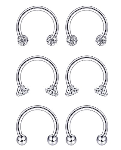 JOERICA 6 Pcs 16G Stainless Steel Nose Rings Septum Lip Nipple Eyebrow Piercing Hoop Horseshoe Helix Tragus Cartilage Ear Piercings (Horseshoe Nipple)