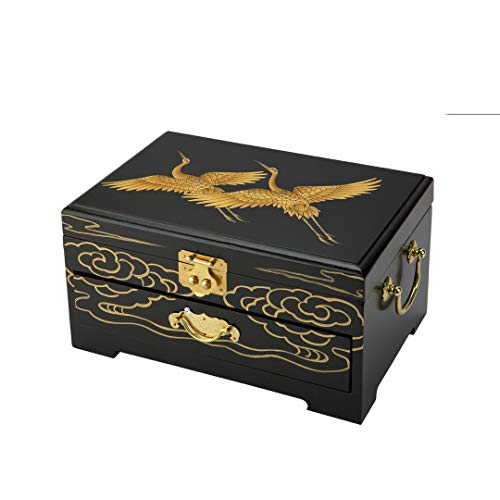 Surely Oriental Wood Jewelry Box/Case/Storage with Black Lacquer Flying Cranes Design