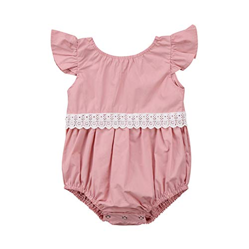 Newborn Kid Baby Girl Clothes Lace Jumpsuit Summer New Fly Sleeve Bodysuit Sunsuit Outfit Pink 24M]()
