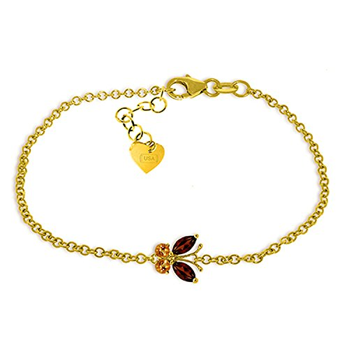 Galaxy Gold 0.6 CTW 14K Solid Gold Flutter Garnet Citrine Bracelet