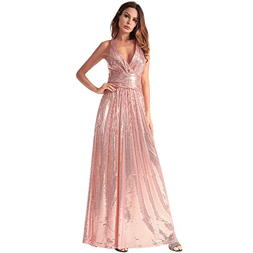Bridesmaid Gowns Evening V Formal Beokeo Neck Pink Sequin Dress Women Deep 7UxwOq6