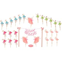 Ballerina Birthday Cake Bunting Topper with Pink Bows and Straws with Pink Dress- Dancing Girl Cupcake Toppers-Party Favors Birthday Party Decoration for Girls 28PCS (Ballerina Birthday Cake Bunting Topper)