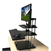 Ergoneer Sit-stand Desktop Converter for Monitor and Laptop - Height Adjustable Ergonomic Desktop Riser with Keyboard Tray to Slide In/Out - Lightweight Standing Desk for Easy Mobility (3-Level)