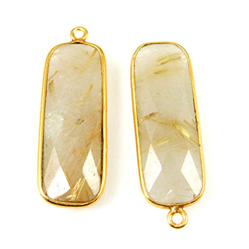 Bezel Charm Pendant-Vermeil Charm-Gold Plated Gemstone Charm Pendant-Gold Rutilated -Elongated Rectangle Shape-34 by 11mm-(2 pcs)- (Art Rectangle Charm Gold Plated)