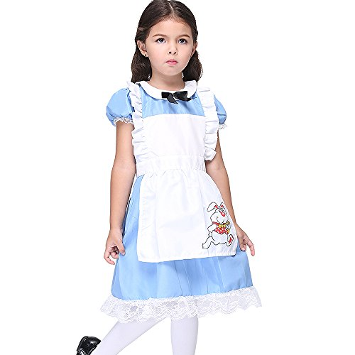 Uleade Kids Girl's Fancy Halloween Lolita Maid Dress Costume Cosplay Outfit With Apron Blue -
