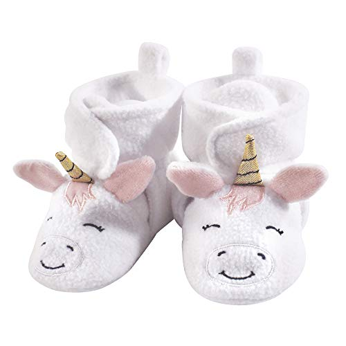 Hudson Baby Baby Cozy Fleece Booties with Non Skid Bottom, White Unicorn, 0-6 Months