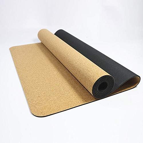 Yoga mat ヨガマット バクテリアと匂いに対する自然で持続可能なコルク耐性非毒性ゴムの裏付け ホットヨガに最適、ピラティス(183cmx 61cmx0.5 C M). workout