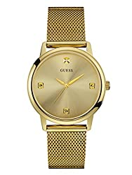 Guess Men's Stainless Steel Diamond Dial Mesh Bracelet Watch, Color Gold-tone (Model: U0280g3)