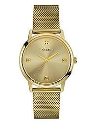 Guess Men's Stainless Steel Diamond Dial Mesh Bracelet Watch, Color Gold-tone (Model: U0280g3)