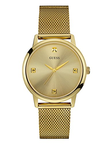 GUESS-Mens-U0280G3-Dressy-Gold-Tone-Watch-with-Plain-Gold-Dial-and-Mesh-Deployment-Buckle