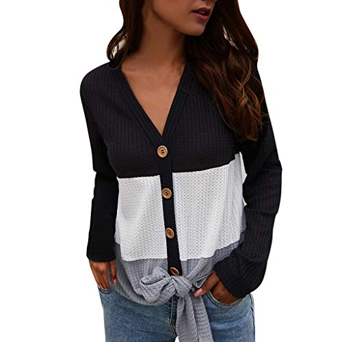 SADUORHAPPY Womens Waffle Knit Tunic Blouse Tie Knot Henley Tops (Hooded) Loose V-Neck Button Fitting Patchwork Plain Shirts Black