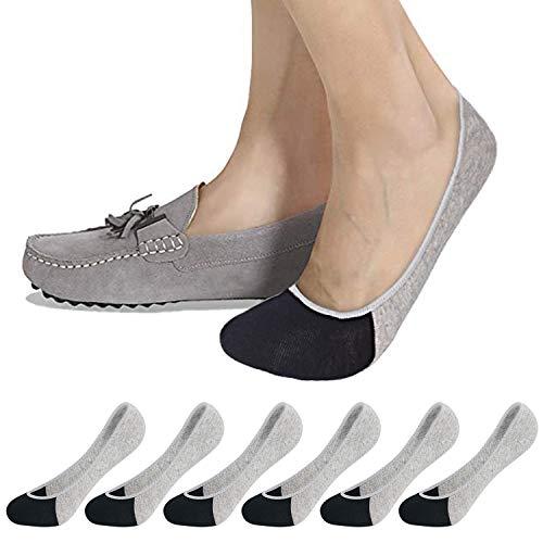 No Show Socks Women Men for Flats Cotton Low Cut Liner Socks Non Slip 6 Pairs