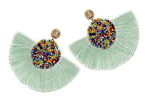Beads Thread Long Tassel Dangle Drop Earrings Ethnic Geometric Charms Eardrop (Light Blue)