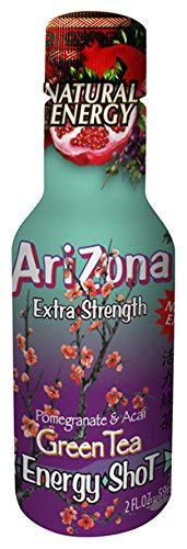 AriZona Extra Strength Energy Shot Green Tea w/Pomegranate, 2oz bottle (12 Count), Caffeine Boost Shot, With Green Tea Derived Caffeine, The Same Amount of Caffeine as a Cup of Coffee