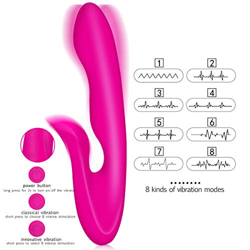 G Spot Vibrator for Women Realistic Dildo Rabbit Vibrator Adult Sex Toy, Waterproof Rechargeable 8+6 Vibrating Modes Clitoris Stimulator for Women Couples by Mise (Image #3)