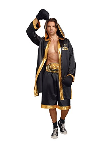 Dreamgirl Men's World Champion Costume, Black/Gold, Large (Business Man Costume For Girls)