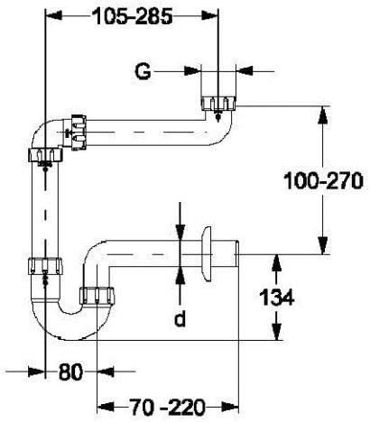 DN 50 Siphon Waschbecken Haas Waschtisch-Siphom Raumsparsiphon 11//4+1 1//2