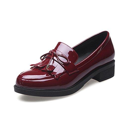 vintage grueso tacones zapatos/Viento bajo cuero borlas zapatos de Inglaterra/Zapatos del estudiante A
