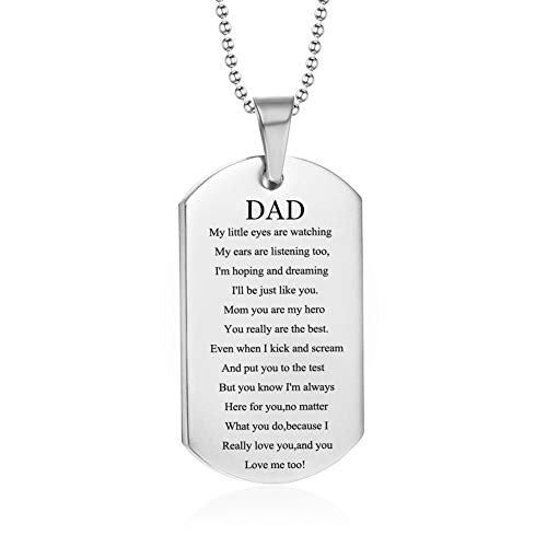 LiFashion LF Stainless Steel Mommy's Daddy's Dog Tag Pendant Necklace for Mom Dad Sentimental Motivational Engraved Mothers Fathers Day Birthday Gift from Daughter Son]()