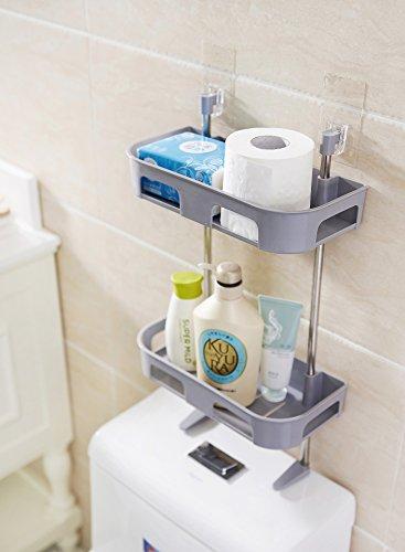Toilet Rack Toilet frame Seasoning rack Multi-purpose Collection Racks,Over-Toilet Storage Shelves Spice Rack, Two Floors Bathroom Space saver, Grey by Scnvo