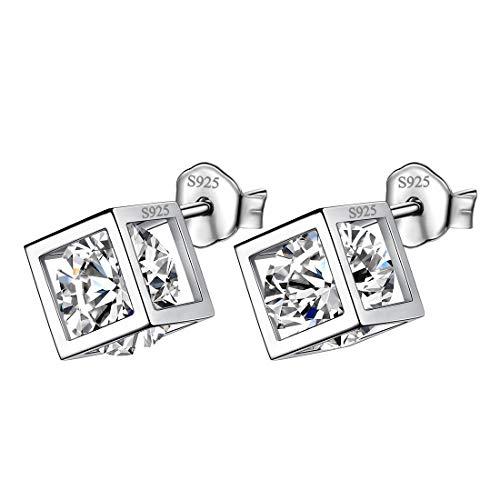 Silver Cube Earrings - Aurora Tears Birthstone April Studs Small Earrings Women 925 Sterling Silver Crystal Birth Minimalist 3D Cube Stud Earrings Girls Birthday Gift DE0028W