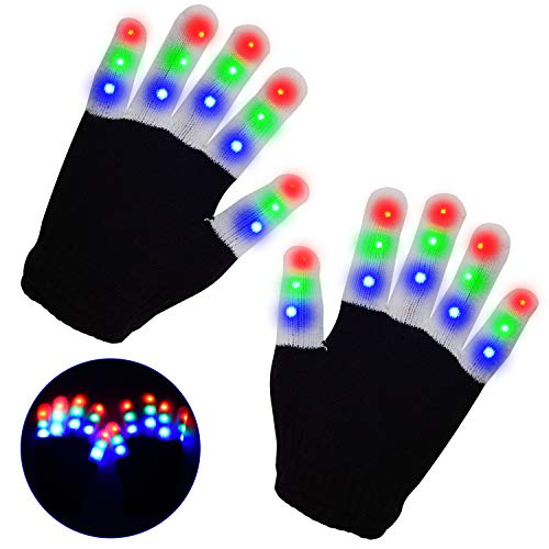 LED Gloves, Light Up Hand Gloves, Flashing Fingers Colourful Rave Gloves 6 Modes Glow for Festivals/ Halloween/ Christmas/ Bonfire Night/ Party/ Games/Gift, Small Size Kids(5-10 yrs Black)
