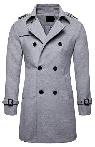 Fall Wool Coats Pea Trench 1 TTYLLMAO Double Men's Blend Solid Breasted Winter CSXx45x1nq