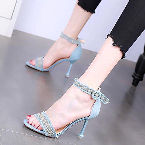 sandali toe donne toe temperamento sandali open blue open di con sexy bene Light vanno temperamento moda YMFIE Le i estate OzPc8q5ySw