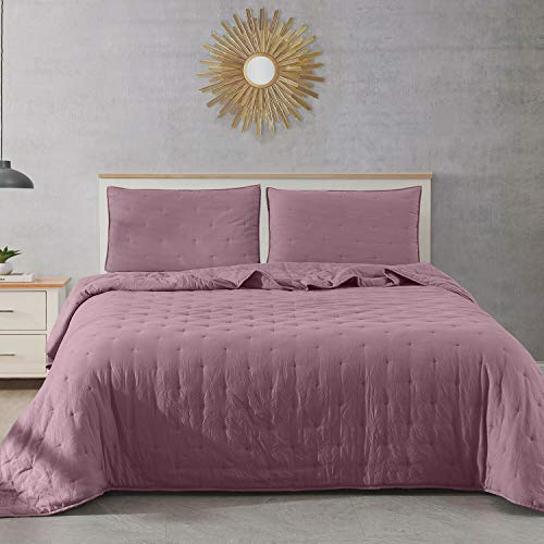 DN_LIN New Fairmont Dot Stitch Vintage Washed Quilt & Pillow Sham Set (Size King - Purple). (Bed Fairmont Set)