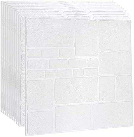 Takarafune 3D壁紙 立体 クッションシート 壁紙シール 防音シート 防水 壁紙 断熱 ウォールステッカー 賃貸OK タイルシール 壁紙シール 白 70cm×70cm大判 20枚セット 部屋デコレーション
