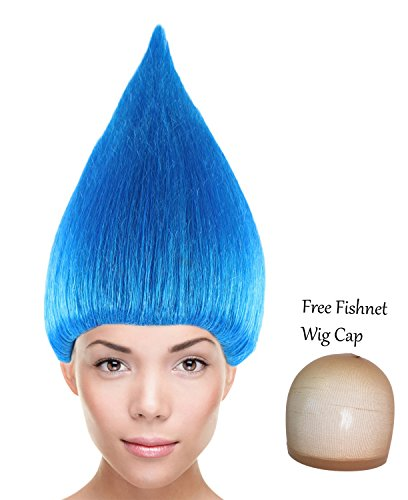 Troll Costume Hair (Cici Trolls Wigs Synthetic Hair w/ Wig Cap Cosplay Costume Party Halloween Colorful Blue Wig for Men, Women)