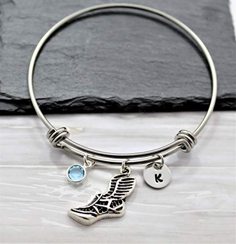 XC Bracelet - Personalized Initial & Birthstone - Running cross country jewelry - Adjustable Track Bangle - Fast Shipping